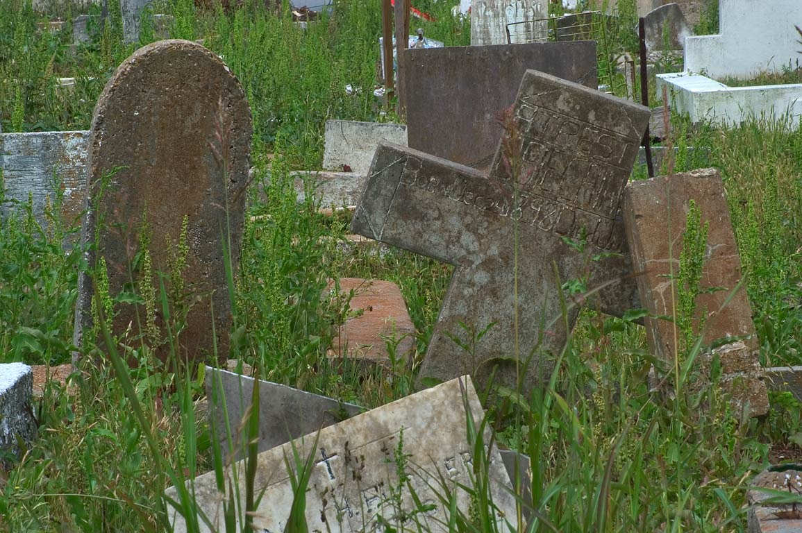 "Tombstones of ""Colored"" (negro) section of...Lowerline St.. New Orleans, Louisiana"