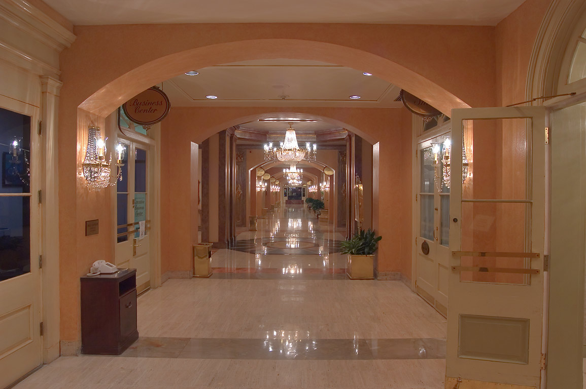 A corridor of Royal Sonesta Hotel on Conti St...French Quarter. New Orleans, Louisiana