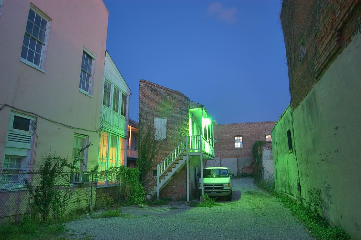 A yard on Burgundy St. near Conti St. in French Quarter at evening. New Orleans, Louisiana