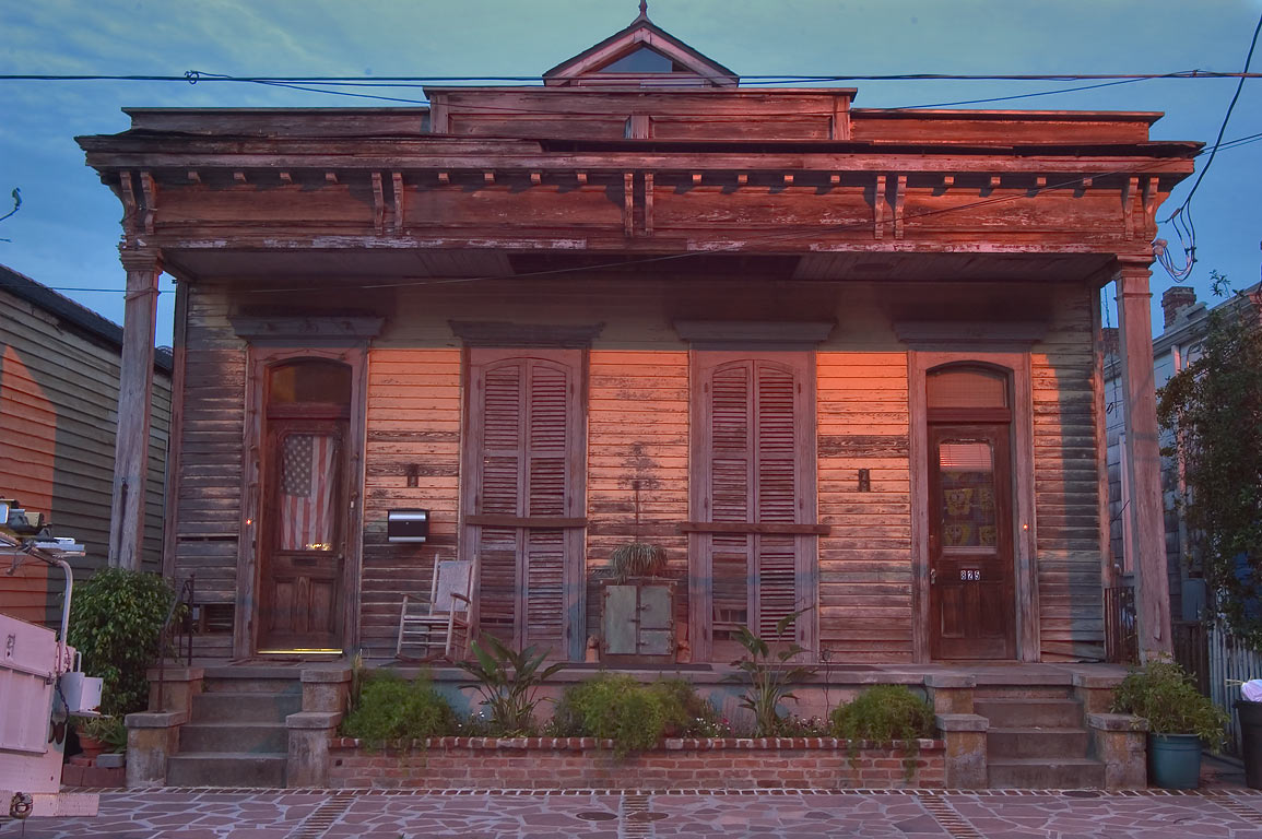 A shotgun house at 825 Second St. in Irish Channel at evening. New Orleans, Louisiana