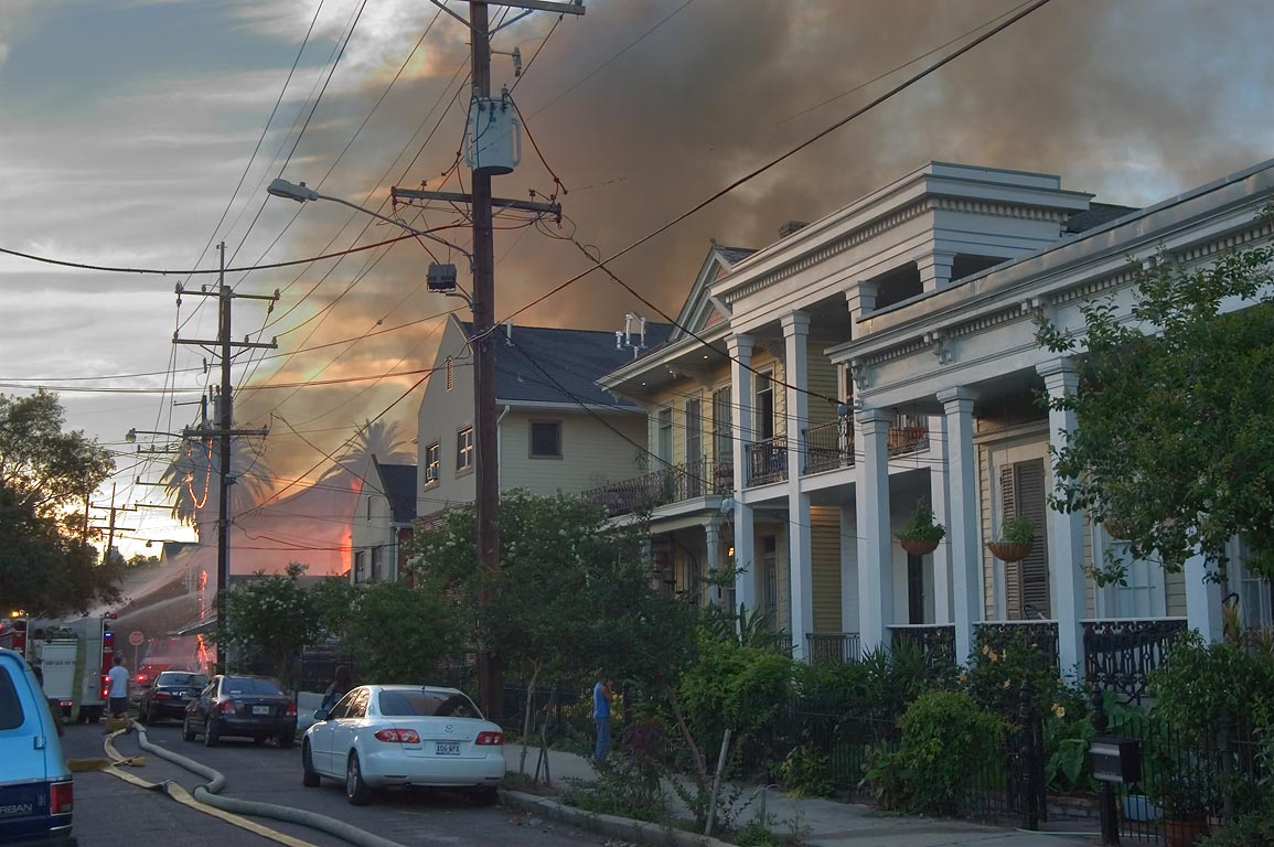 A fire on St.Mary St. in Lower Garden District. New Orleans, Louisiana