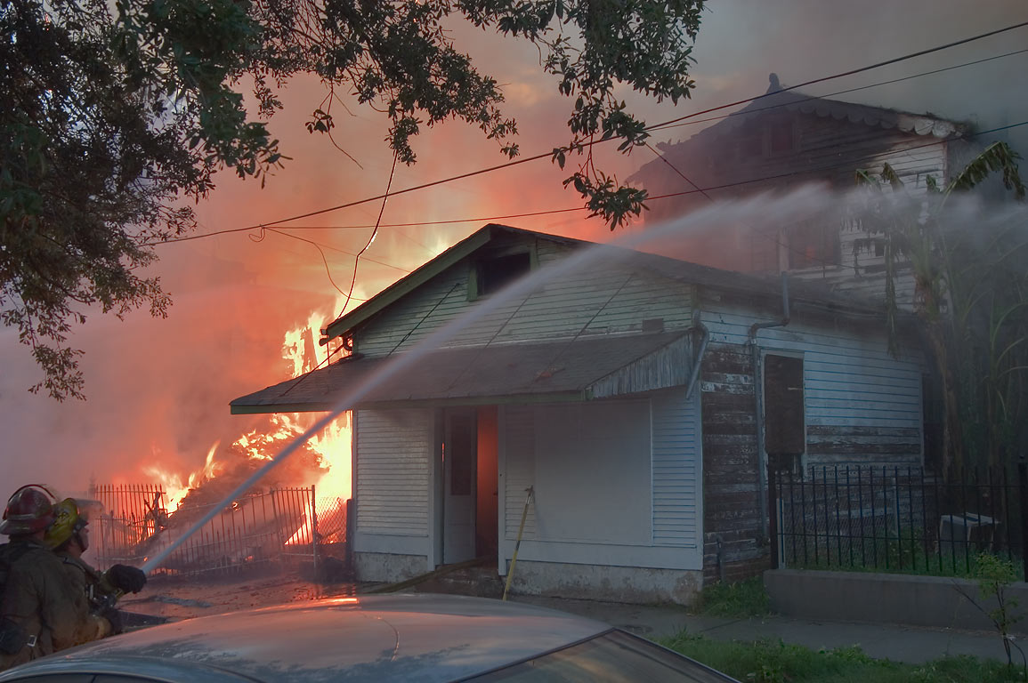 A fire at 1233-1231 St.Mary St., corner of...District. New Orleans, Louisiana