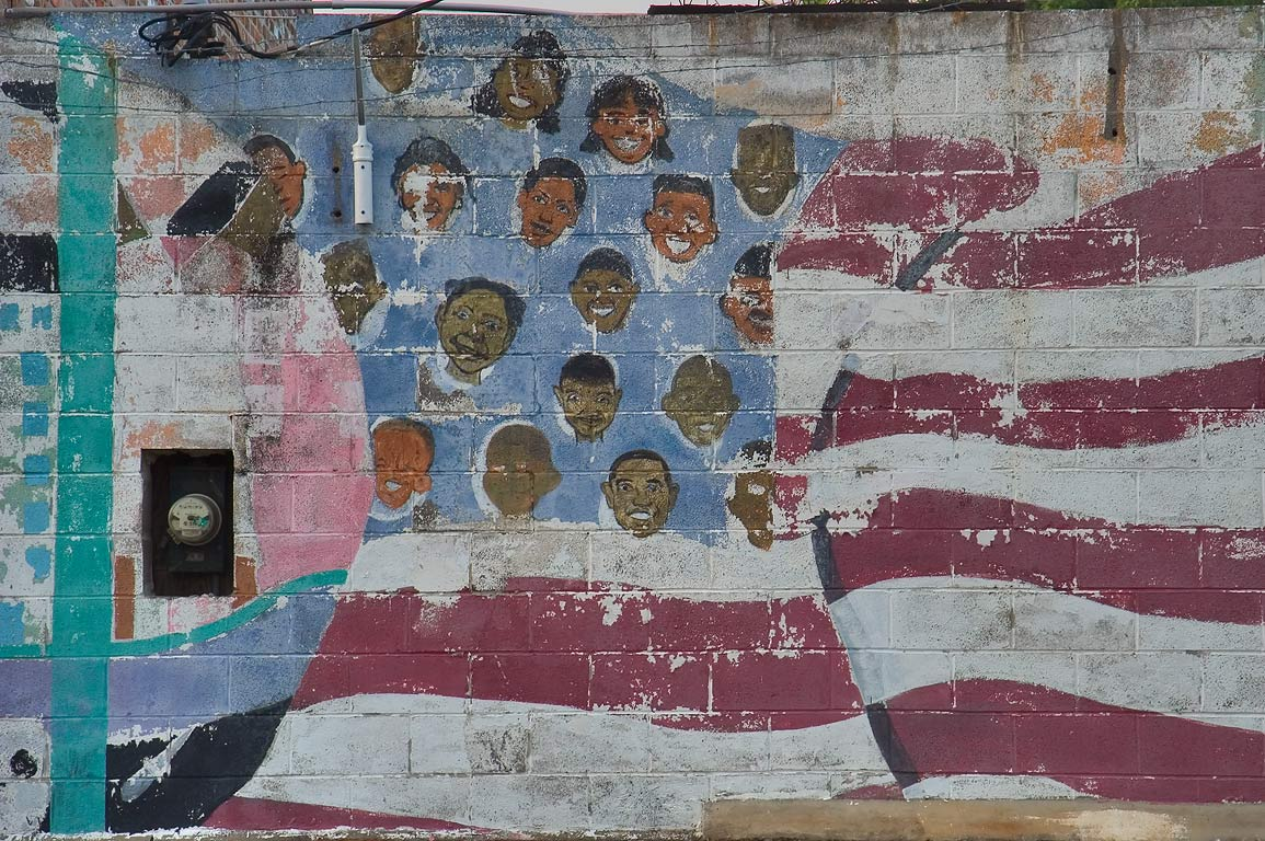 An American flag on a mural on a wall of Kingsley...District. New Orleans, Louisiana