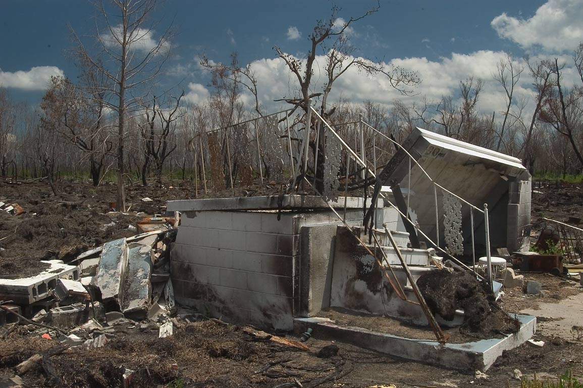 A damaged house at 4533 Rd. 300 in Delacroix, St...East from New Orleans, Louisiana
