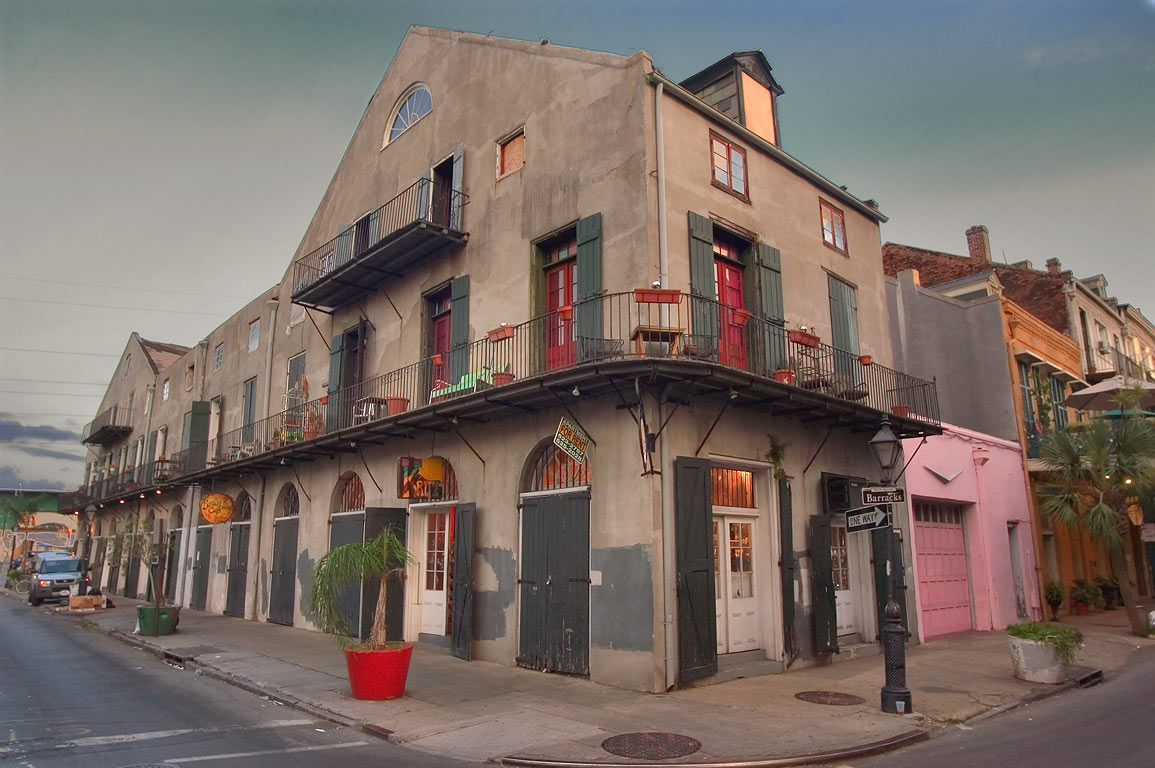 A corner of Barracks and Decatur streets in French Quarter. New Orleans, Louisiana