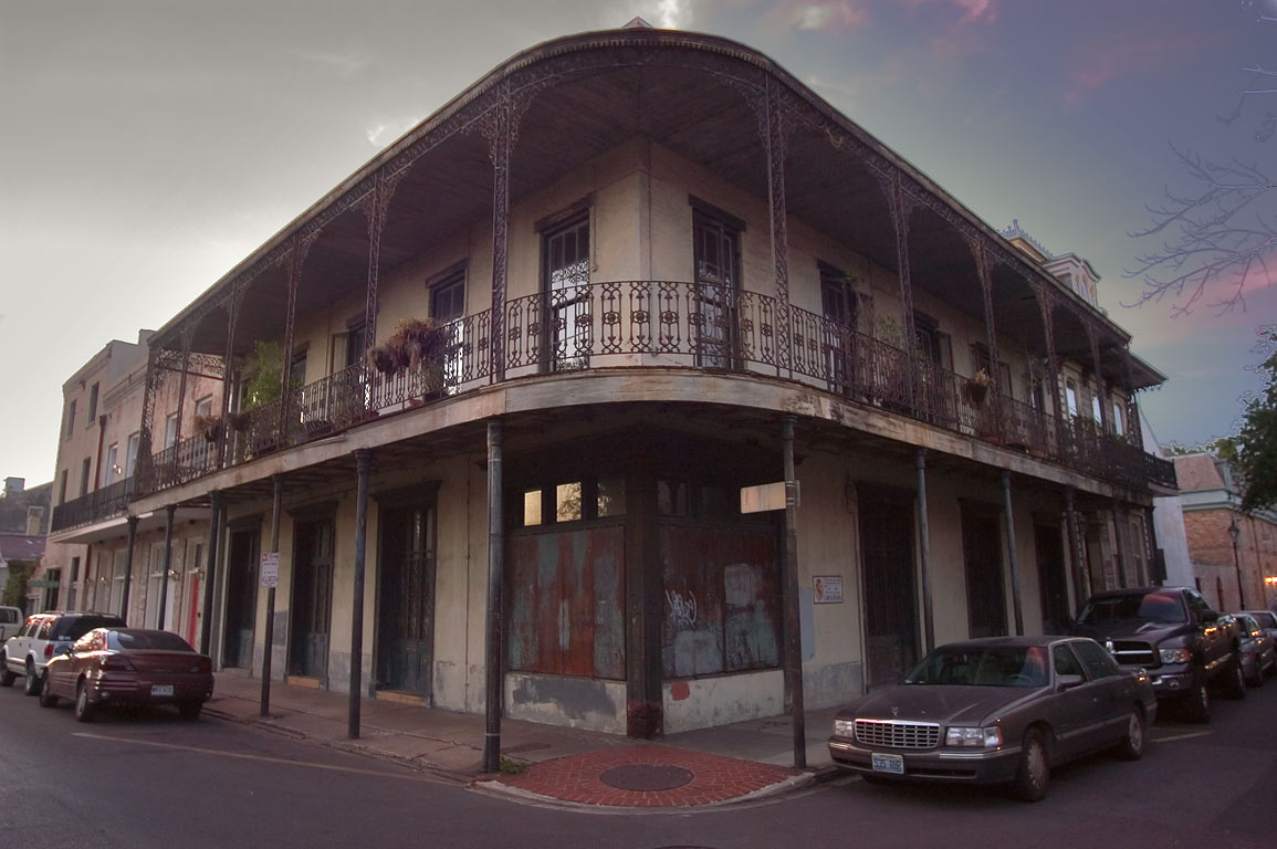 A corner of Dauphine and Barracks streets in French Quarter. New Orleans, Louisiana