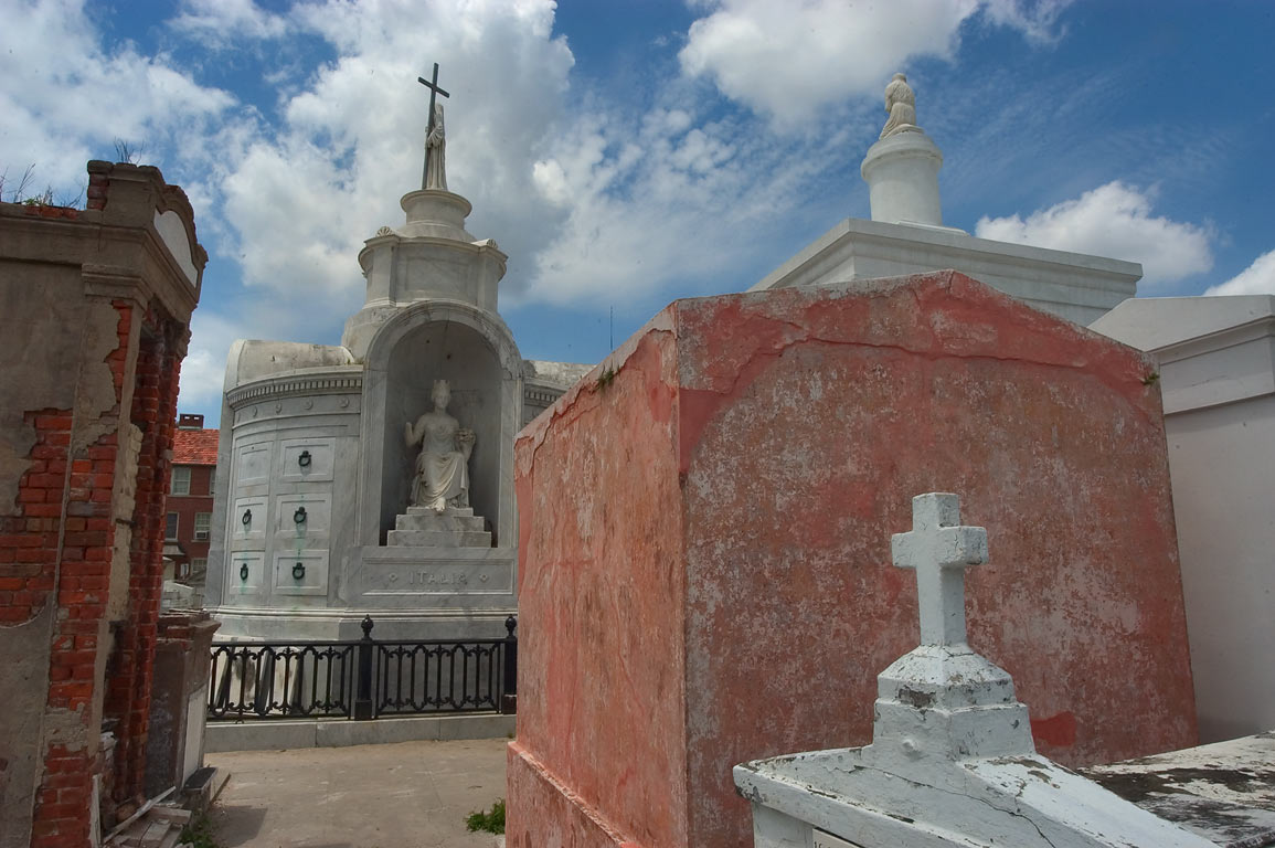 St.Louis Cemetery No. 1, with a tomb of Italian...in background. New Orleans, Louisiana
