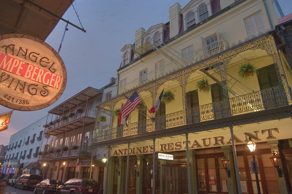 "Angel Wings-Berger"" and ""Antoine's"" restaurants...French Quarter. New Orleans, Louisiana"