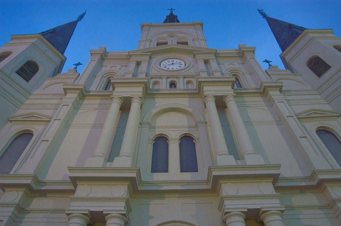 Wide-angle shot of St.Louis cathedral in French Quarter at evening. New Orleans, Louisiana