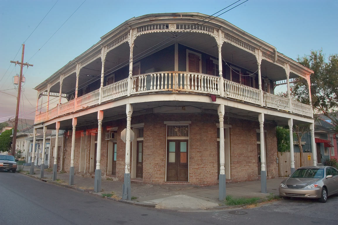A balcony at a corner of Royal and Mandeville...Marigny. New Orleans, Louisiana