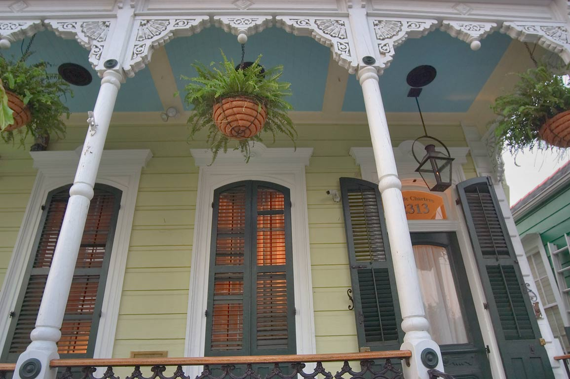A porch of 2313 Chartres St. in Faubourg Marigny. New Orleans, Louisiana