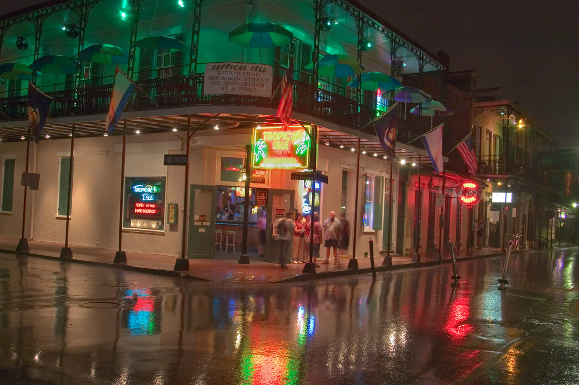 Tropical Isle cafe at a corner of Bourbon and...at rain. New Orleans, Louisiana