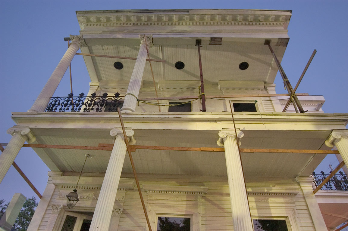 Quick-fixed mansion with missing Ionic columns at...District. New Orleans, Louisiana