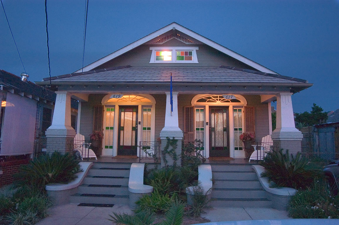 A house at 617-619 St.Roch St. near Franklin Ave...at evening. New Orleans, Louisiana