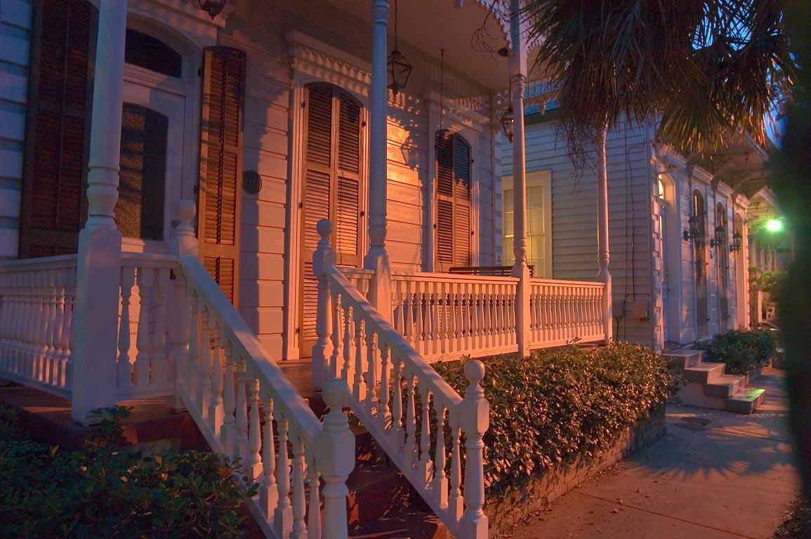 A porch on Burgundy St. in Faubourg Marigny at evening. New Orleans, Louisiana