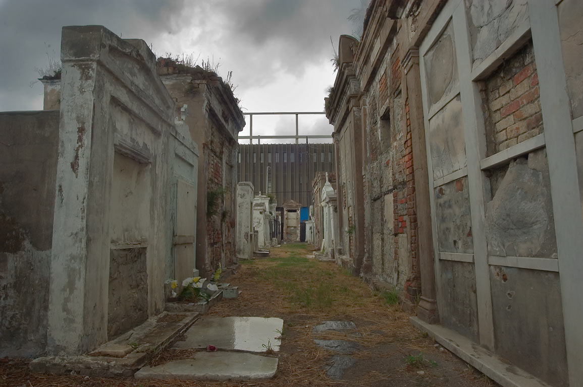 A narrow lane in St.Louis Cemetery No. 2. New Orleans, Louisiana