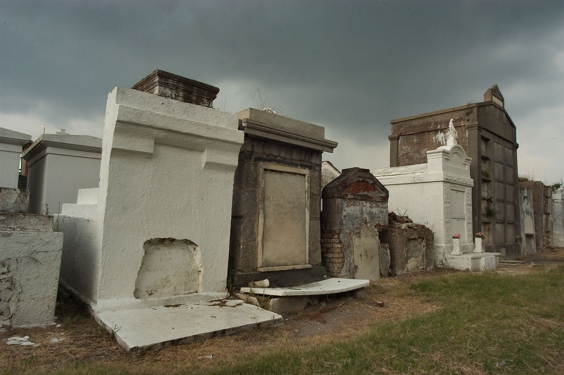 Last row of tombs in St.Louis Cemetery No. 2. New Orleans, Louisiana
