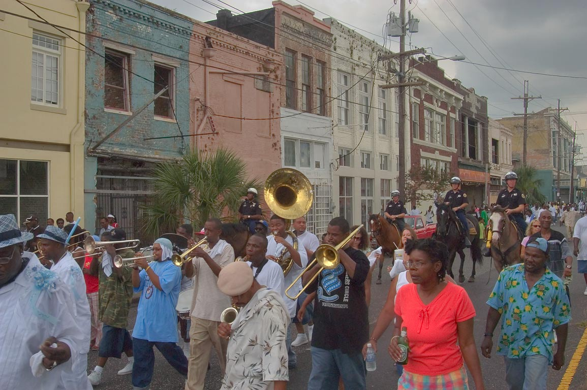 Marching bands on Oretha Castle Haley Blvd. near...Central City. New Orleans, Louisiana