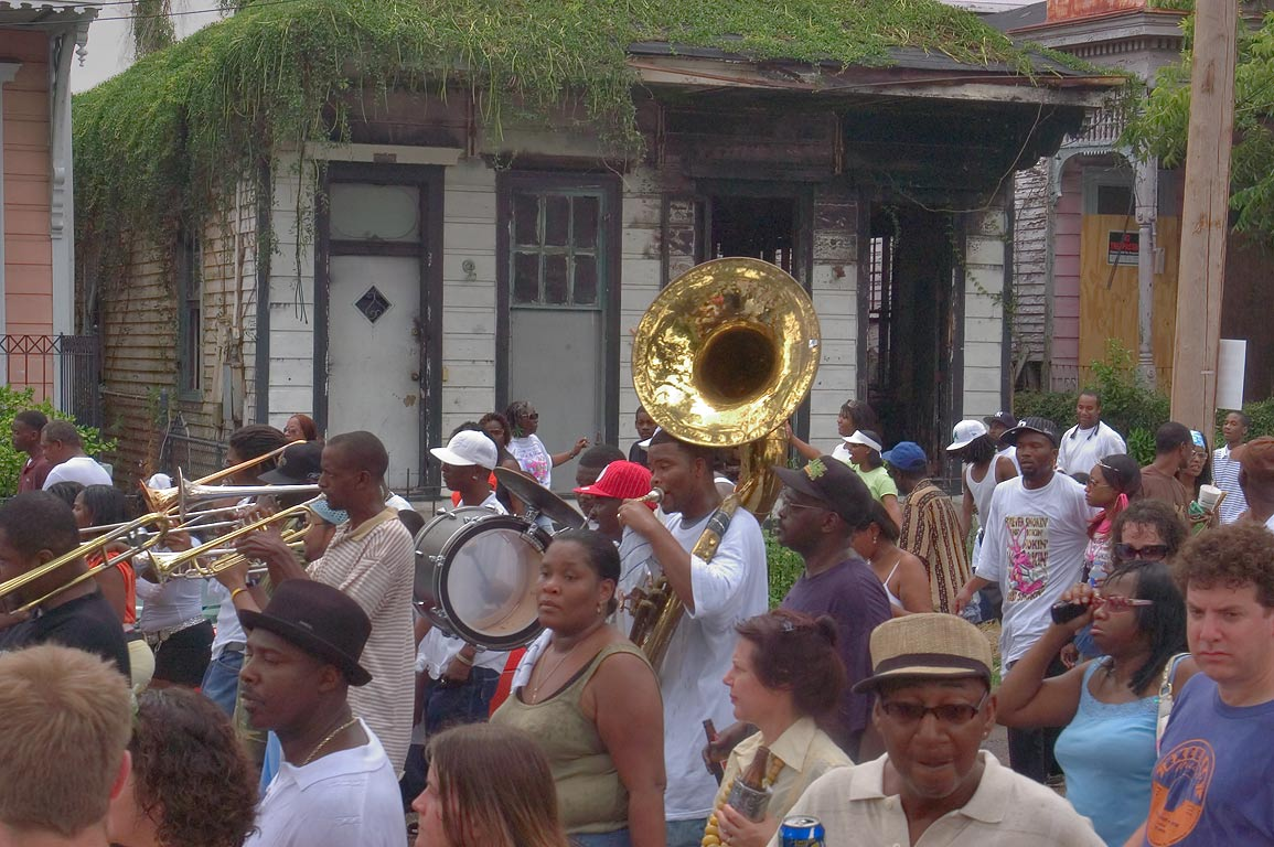 Marching music band on Jackson Ave. near Baronne...Central City. New Orleans, Louisiana