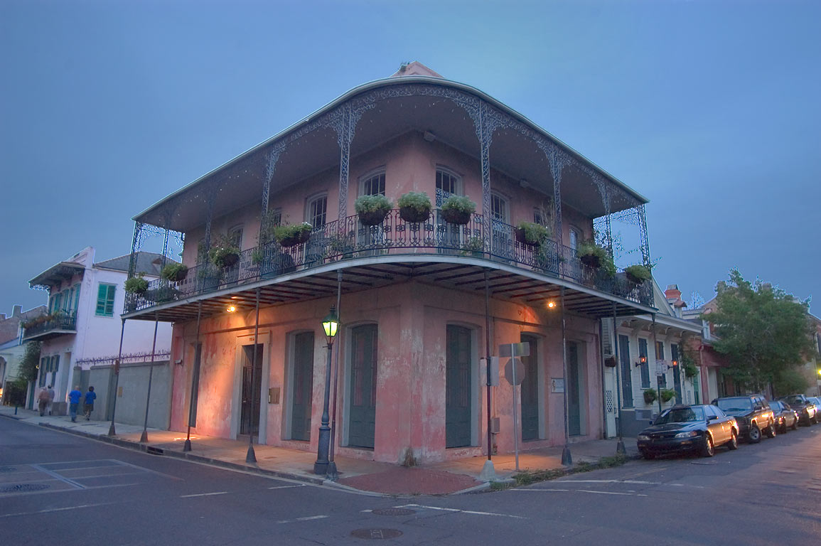 A corner of Dauphine and Ursulines streets in...at evening. New Orleans, Louisiana