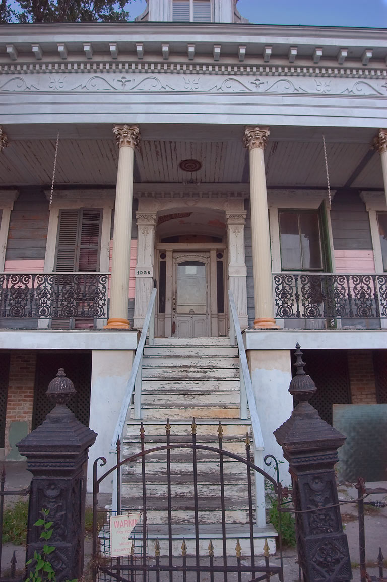 A porch of Adam Thompson-Theodore Kendig House at...District. New Orleans, Louisiana