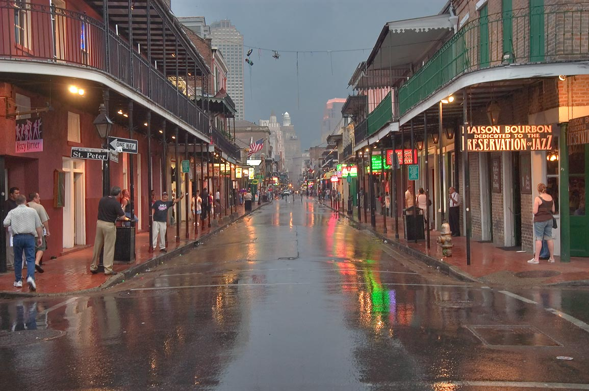 Bourbon Street from St.Peter St. to south-west at...French Quarter. New Orleans, Louisiana