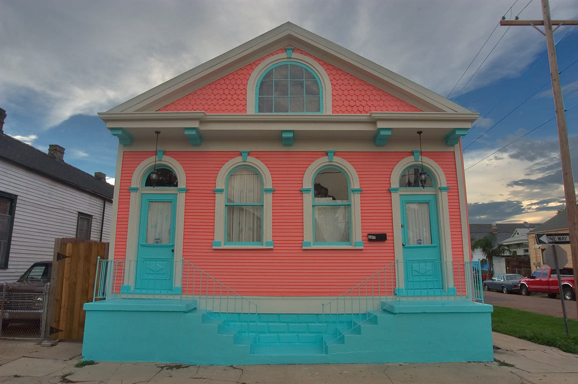Pink house at 3041 Dumaine St., a corner of North...neighborhood. New Orleans, Louisiana