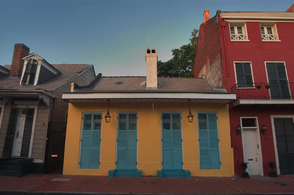 Creole cottage on Governor Nicholls St. in French Quarter. New Orleans, Louisiana