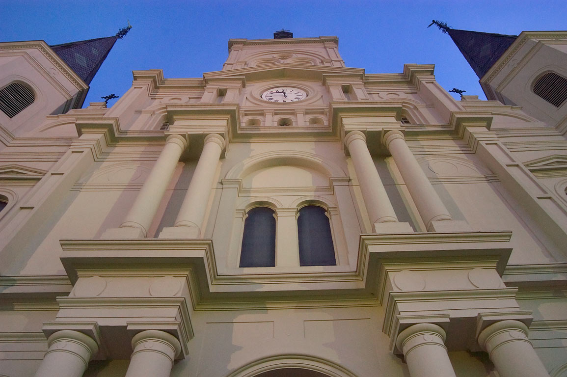 St.Louis Cathedral, view from the gate, in French Quarter. New Orleans, Louisiana