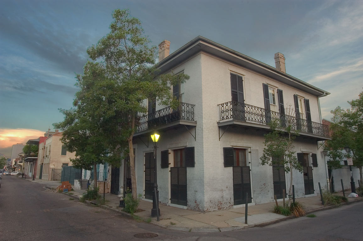 A corner of Ursulines and Burgundy streets in French Quarter. New Orleans, Louisiana