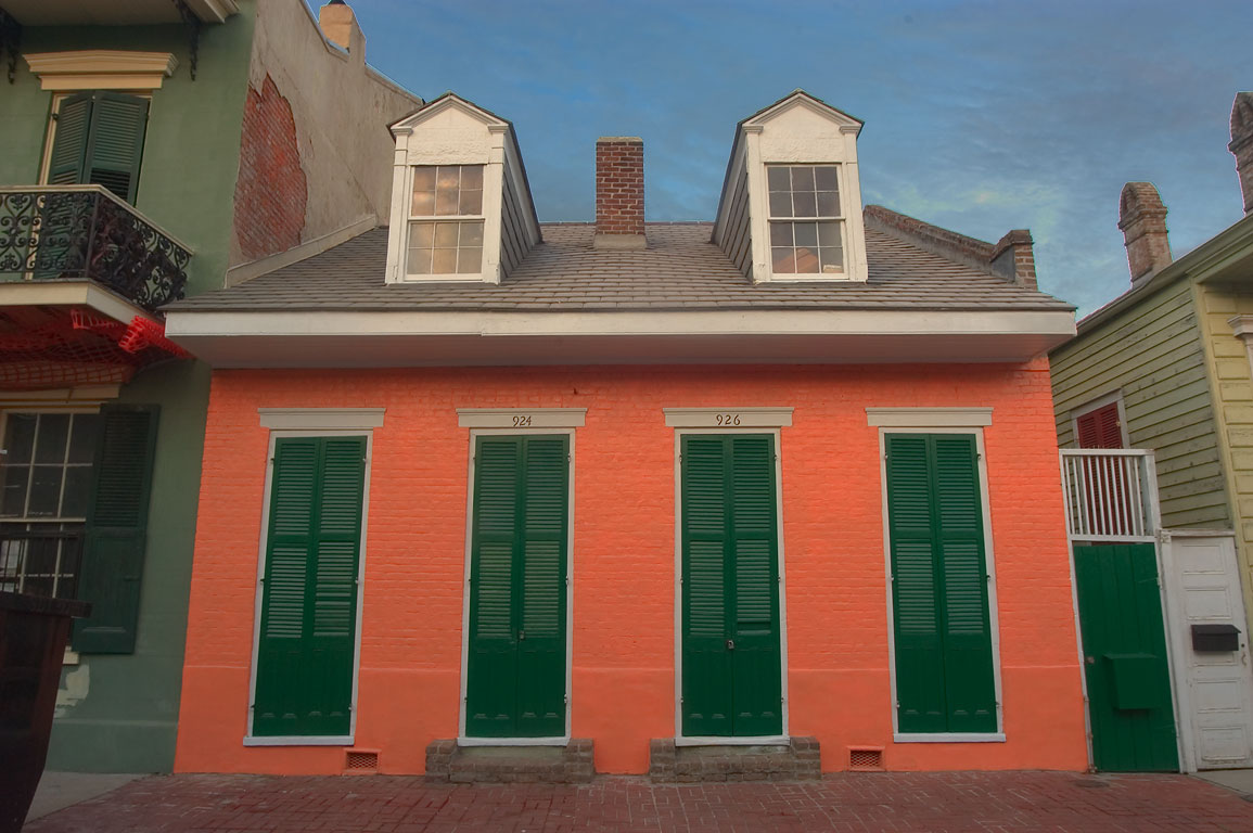 Red Creole cottage at 924-926 Ursulines St. near...French Quarter. New Orleans, Louisiana