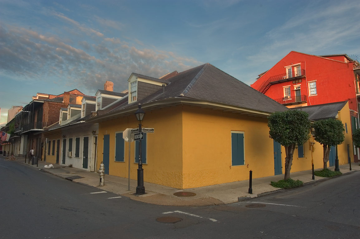 A corner of Chartres and Ursulines streets in French Quarter. New Orleans, Louisiana