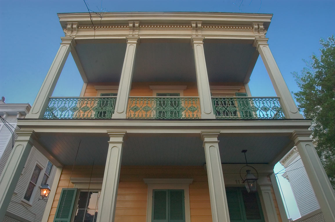 A double gallery house on Third Street in Garden District. New Orleans, Louisiana