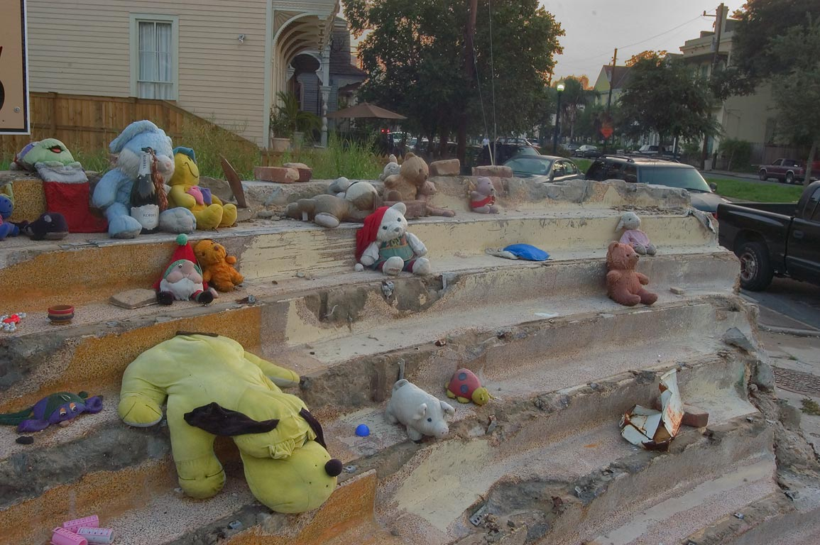 Stuffed animals on a site of Coliseum Theater...District. New Orleans, Louisiana