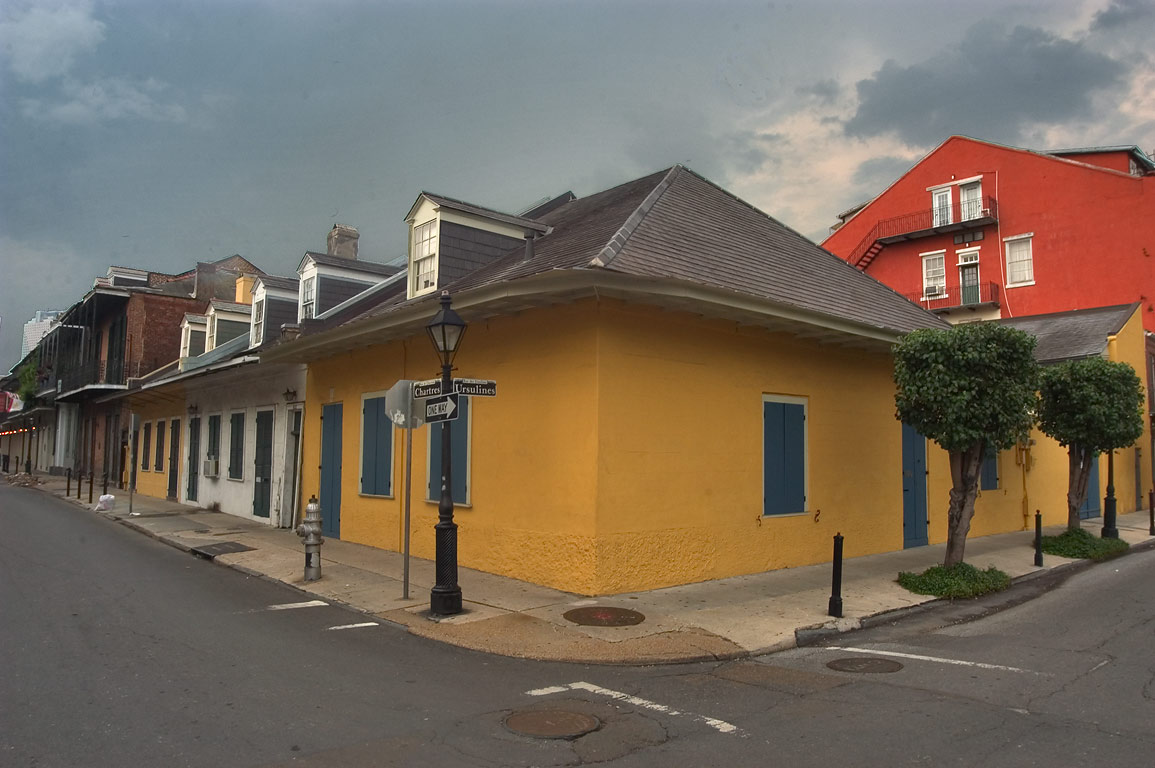 A corner of Ursulines and Chartres streets in French Quarter. New Orleans, Louisiana