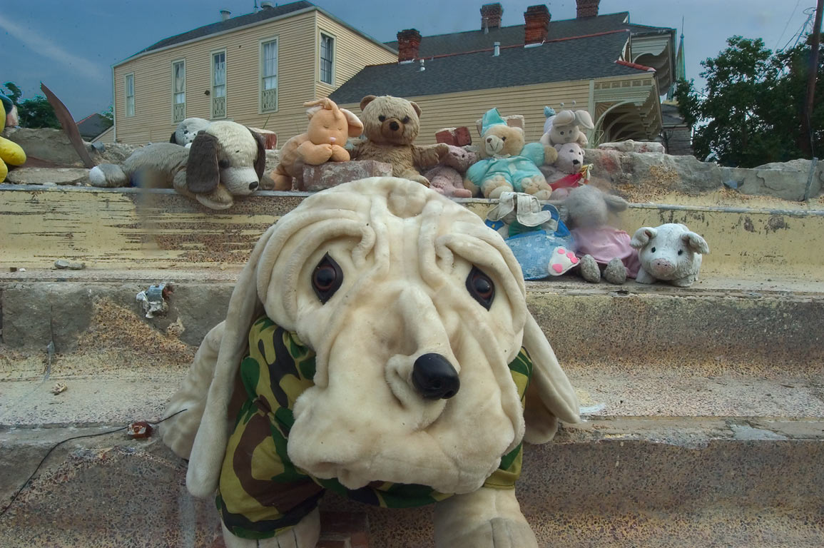 A soft toy on steps of Coliseum Theater (1915...District. New Orleans, Louisiana