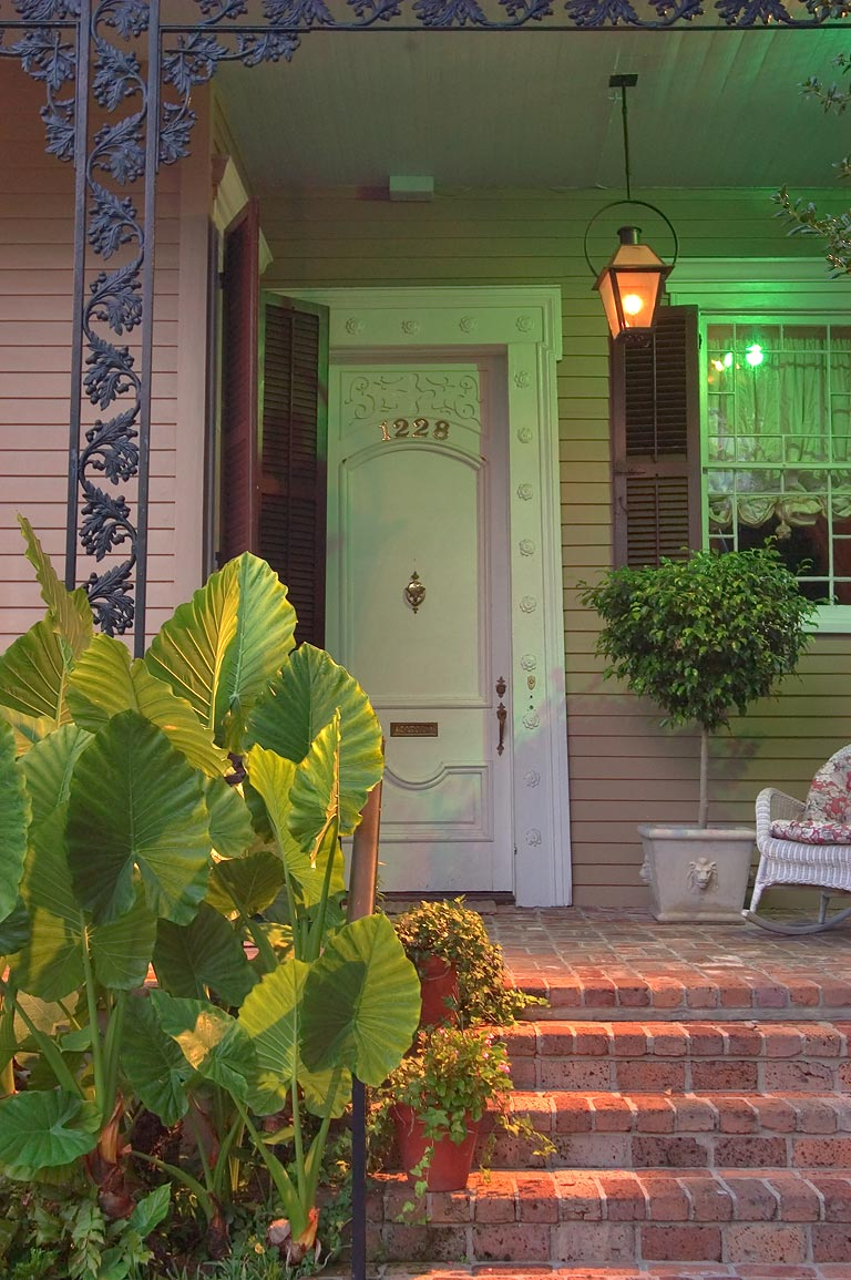A porch at 1228 Third St. near Chestnut St. in Garden District. New Orleans, Louisiana