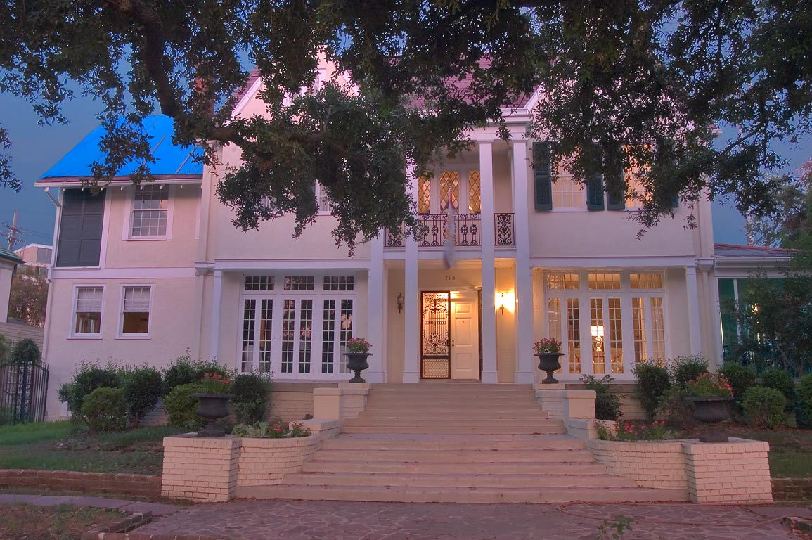 Mick Andrews mansion (1914) at 195 Audubon Blvd...St. at evening. New Orleans, Louisiana
