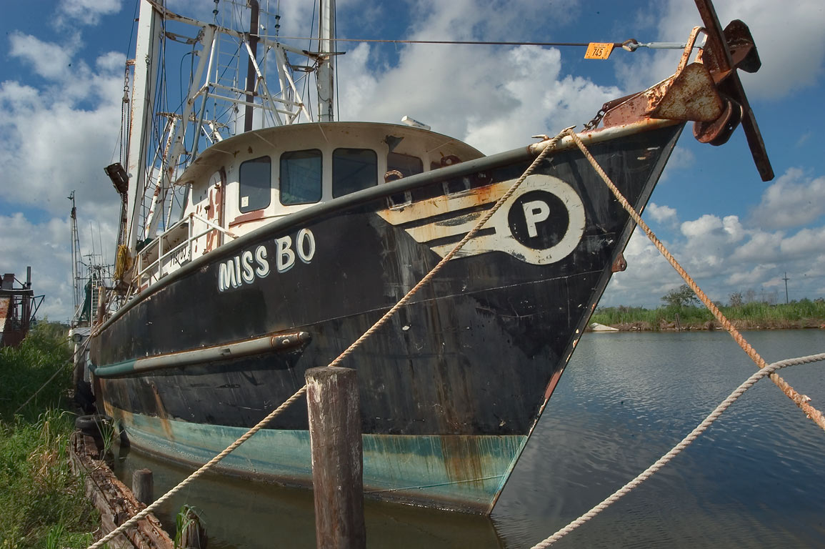 "Miss Bo"" fishing ship in Bayou Grand Caillou...Terrebonne Parish. Dulac, Louisiana"