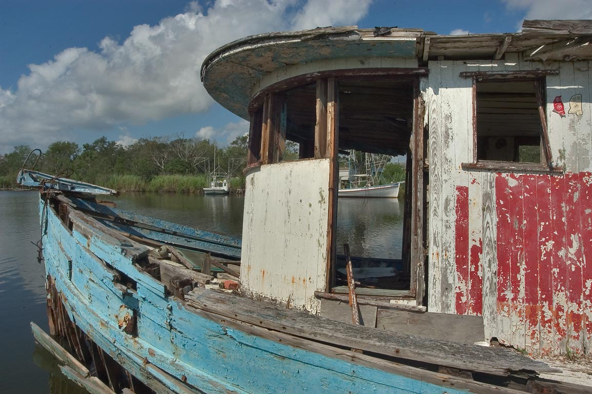 "PGAC"" fishing boat in Bayou Grand Caillou, view...Terrebonne Parish. Dulac, Louisiana"