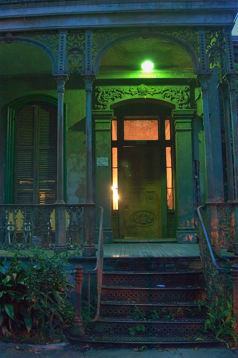 Iron porch of Armstrong-Danna House (1868) at...Central City. New Orleans, Louisiana