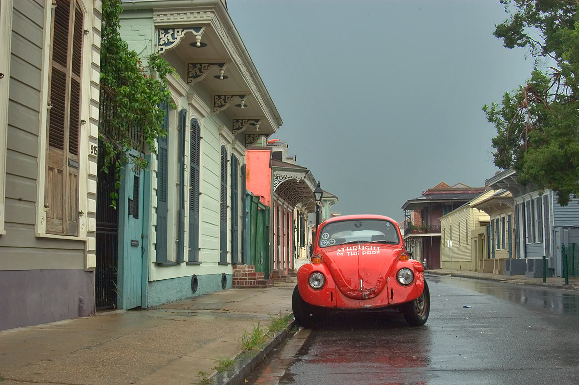 Dauphine St. near St.Philip St. in French Quarter at rain. New Orleans, Louisiana