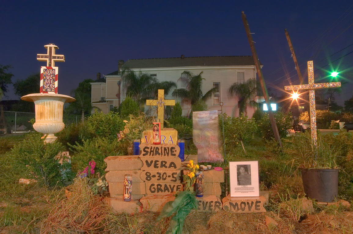 "A decorated brick memorial ""Vera's Shrine"" to...District. New Orleans, Louisiana"