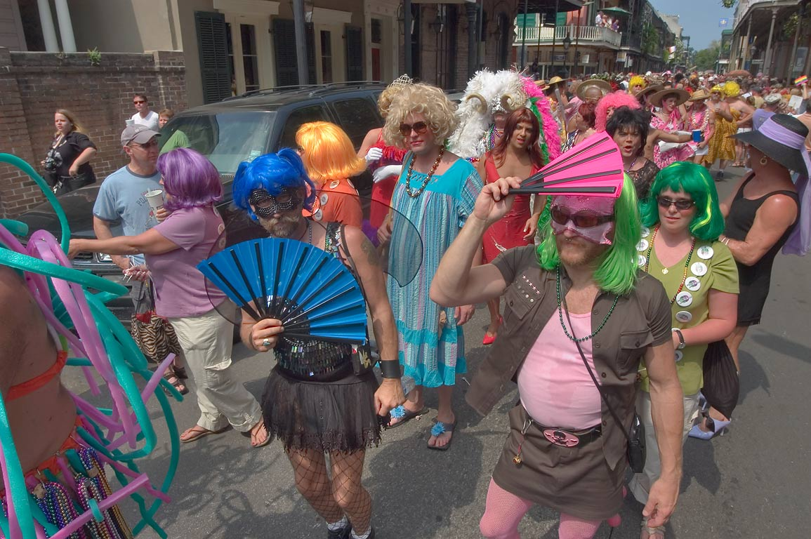 Masked people during Southern Decadence parade on...French Quarter. New Orleans, Louisiana