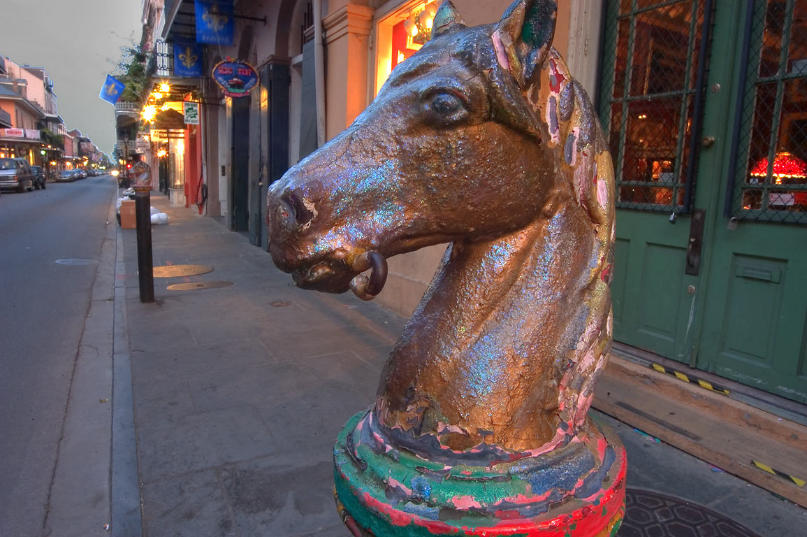 Horse hitches on Royal St. near St. Peter St. in French Quarter. New Orleans, Louisiana