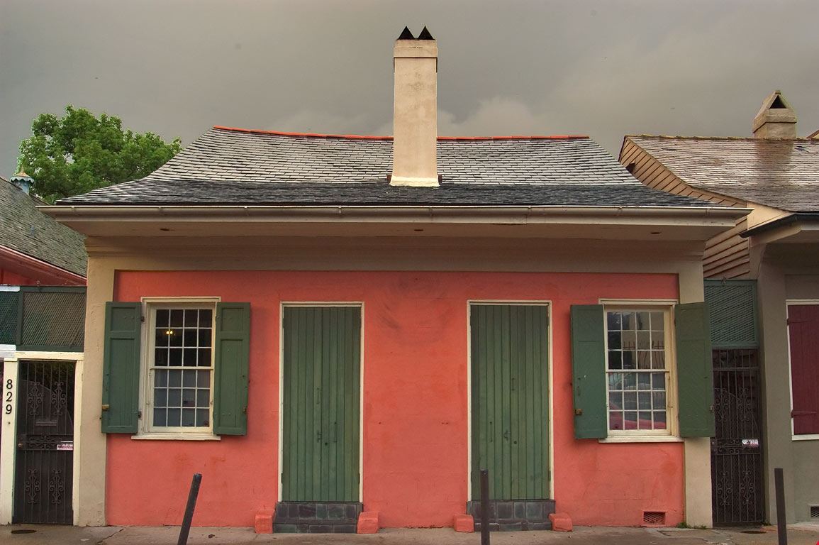 Creole cottage on St.Philip Street in French Quarter. New Orleans, Louisiana