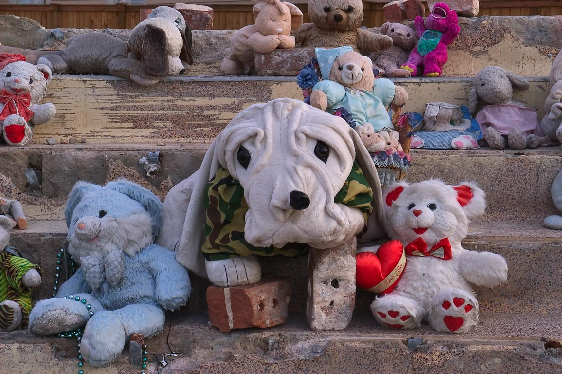 "A ""shrine"" decorated by teddy bears and stuffed...District. New Orleans, Louisiana"