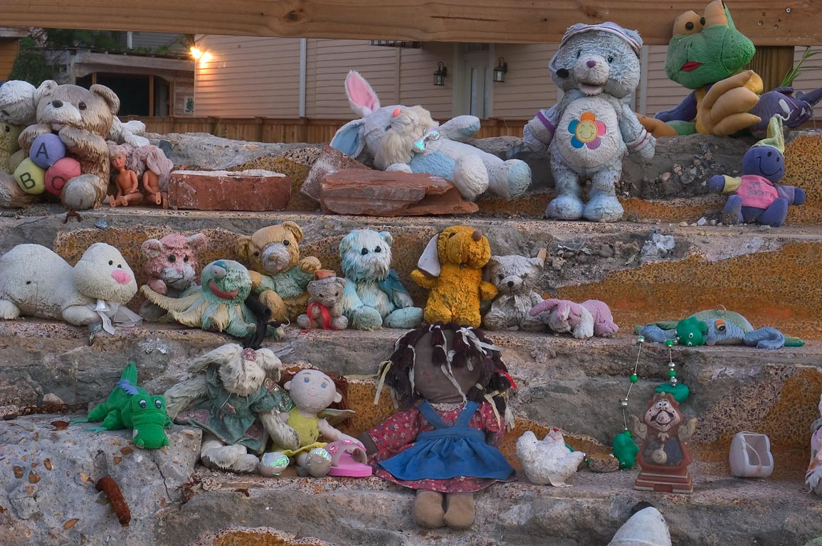 A memorial decorated by soft toys and stuffed...District. New Orleans, Louisiana