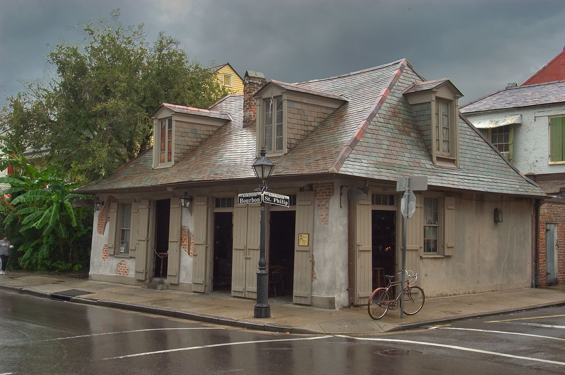 Lafitte's Blacksmith Shop on a corner of Bourbon...French Quarter. New Orleans, Louisiana