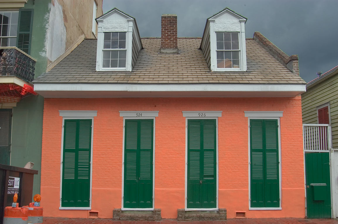 Creole cottage at 924-926 Ursulines St. near...French Quarter. New Orleans, Louisiana